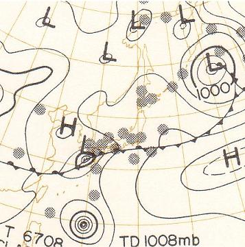 天気図 昭和42年7月9日9時