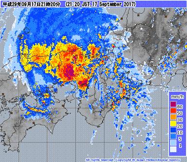 気象レーダー 201709172120-00