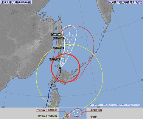 台風進路 9月18日16時