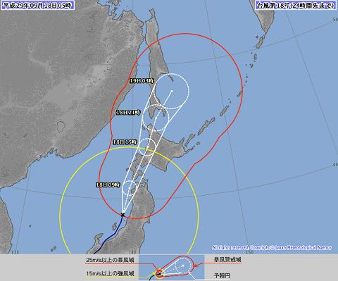 台風進路 9月18日05時