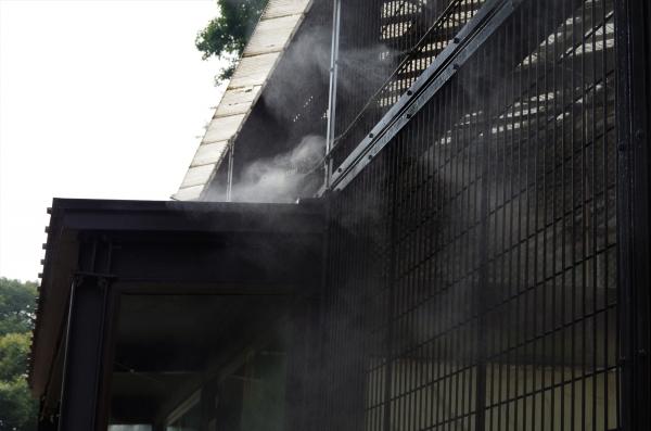アムールトラ 獣舎前のミスト冷却 福岡市動物園