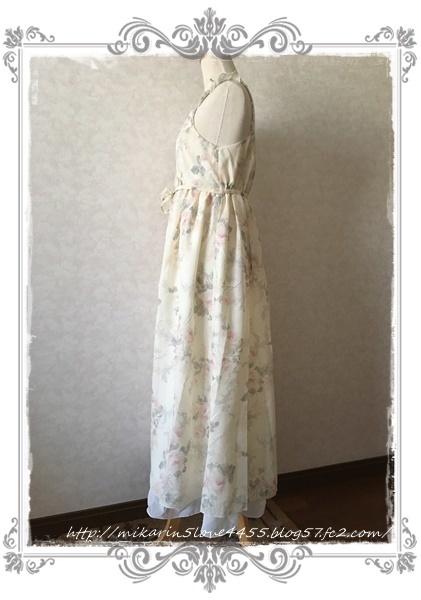 0606ぼかし花柄マキシワンピース(生成り)横