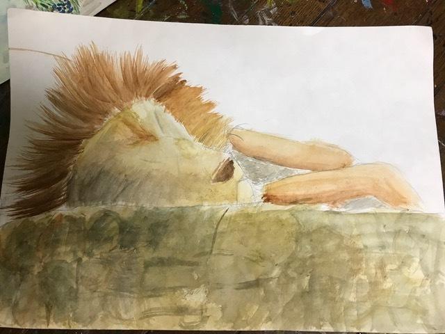 絵寝ているライオン