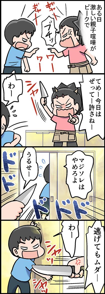 母怒りの包丁1