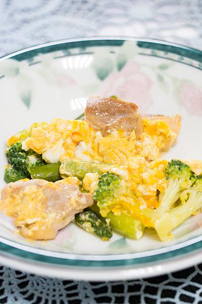 ブロッコリーと鶏肉とアスパラの卵とじ