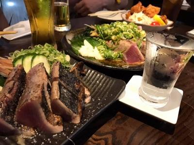 鰹の藁焼きと土佐鶴
