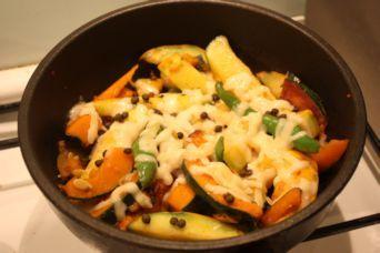 夏野菜の山椒チーズ焼き