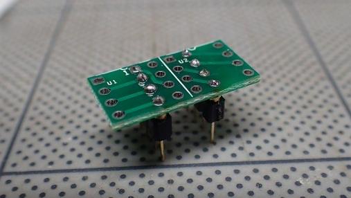 DIPシングルオペアンプ→DIPデュアルオペアンプ 変換基板の組み立て (5)