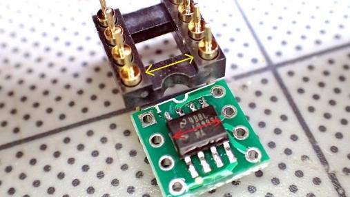 デュアルオペアンプ 変換基板の組み立て (7)