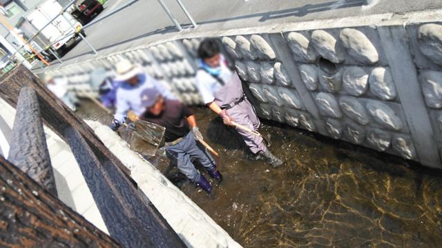 用水路を掃除する人々