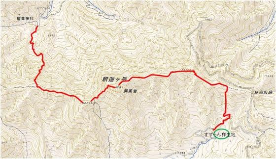 釈迦ヶ岳地形図