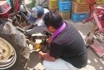 芋掘りトラクター準備