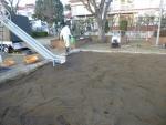 砂場を殺菌 消毒