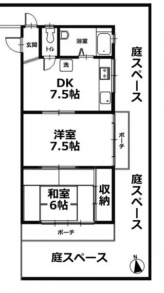 ■物件番号P4953 駅も海も徒歩10分!ペット可!RC造!2DKマンション!広い庭付!6.5万円!