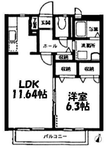 ■物件番号4965 駅徒歩12分!家賃7.9万円!カップル向け1LDK!収納豊富!追焚き!都市ガス!
