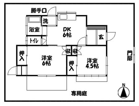 ■物件番号4997 昭和レトロ平屋!激安5.2万円!広い庭付!希少な都市ガス!コンビニ1分!