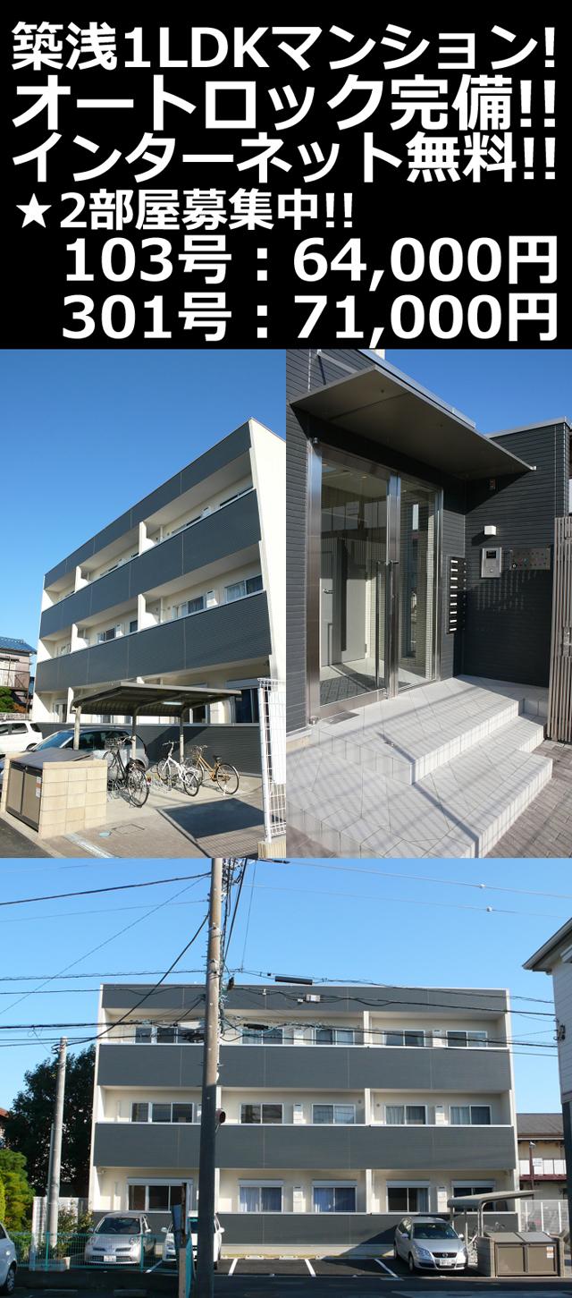 ■物件番号5051 築浅1LDKマンション!6.4万円~!2部屋募集!オートロック完備!敷地P有り!