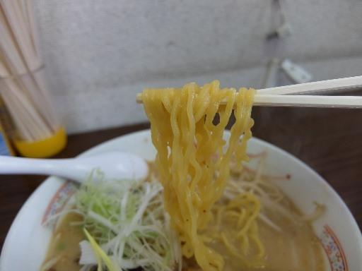 縮れた中太玉子麺