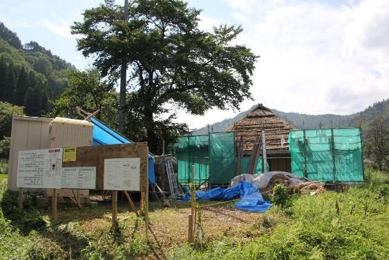 修復工事中の旧五十嵐家住宅