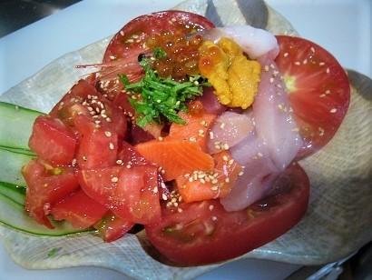 朝取トマトと五種の鮮魚のカルパッチョ (2)