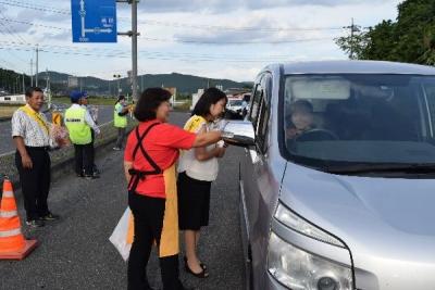 秋の交通安全運動作州津山商工会久米支部女性部