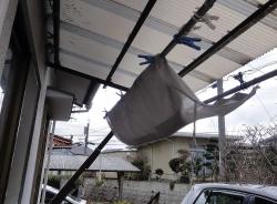 テラスの雨除けカーテン
