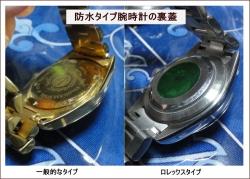 防水タイプ腕時計の裏蓋