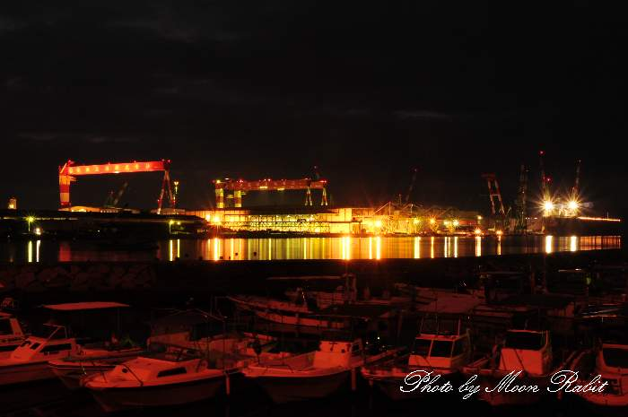 今治造船西条工場の夜景 愛媛県西条市ひうち7−6