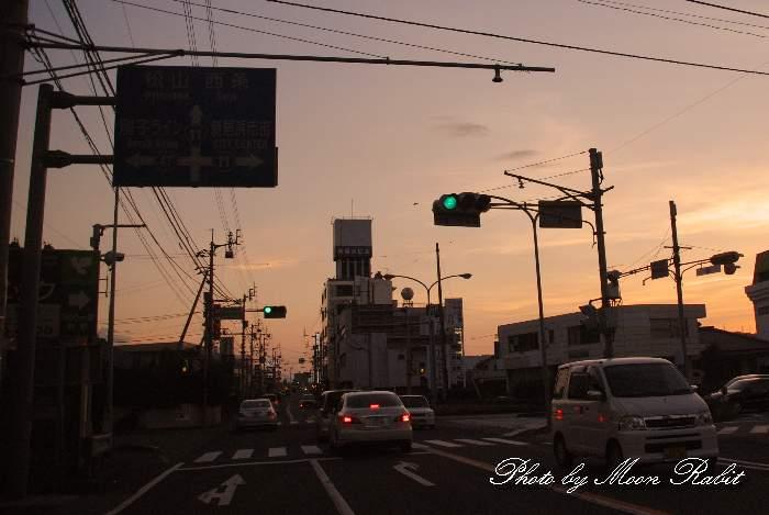 国道11号線の夕景 愛媛県新居浜市