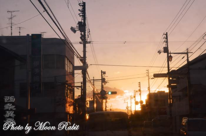 夕焼け 愛媛県西条市