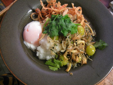 blog Dinner, Chinese Rice Porridge with Shirasu, Gyoza skin, Cilantro, Egg_DSCN3344-11.14.16.jpg