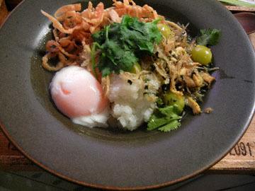 blog Dinner, Chinese Rice Porridge with Shirasu, Gyoza skin, Cilantro, Egg_DSCN3342-11.14.16.jpg