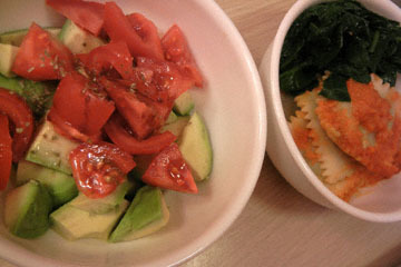 blog CP2 Dinner, Avocado & Tomato Salad, Ravioli & Spinach_DSCN4191-3.27.17.jpg