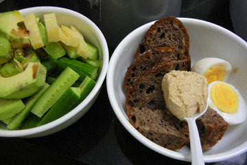 blog CP1 Cooking, Dinner, Avocado-Cucumber-Cheese Salad, Boiled Egg, Walnut Bread with Tahini_DSCN4148-3.16.17.jpg