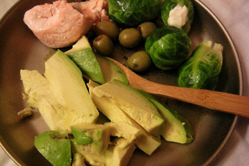blog Cooking, Dinner, Poached Salmon, Olives, Brussels Sprouts & Avocado_DSCN4168-3.19.17.jpg