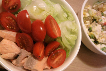 blog CP1 Cooking, Dinner, Egg Salad, Cherry Tomatoes, Poached Salmon & Cabbage_DSCN4177-3.22.17.jpg