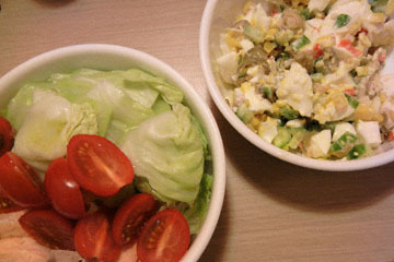 blog CP1 Cooking, Dinner, Egg Salad, Cherry Tomatoes, Poached Salmon & Cabbage_DSCN4175-3.22.17.jpg
