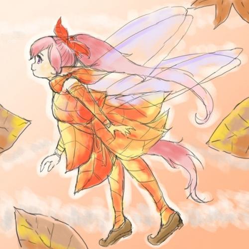 落ち葉ファッションの妖精