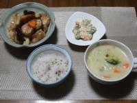 10/8 夕食 鶏と野菜のポン酢炒め、れんこんときゅうりの明太マヨ和え、クリームシチュー、雑穀ご飯