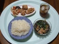 10/12 昼食 こんにゃくそうめん、鶏の竜田揚げ、根菜のポン酢炒め残り