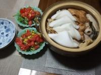 10/13 夕食 おでん、ブロッコリースプラウトのサラダ