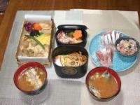10/14 夕食 ハマグリめし、水戸印篭弁当、イナダの刺身、イナダのアラ汁