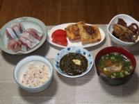 10/15 夕食 イナダの刺身、稲荷餃子、イナダのアラ煮、アカモク、イナダのアラ汁、雑穀ご飯