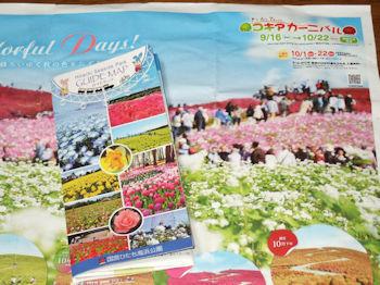 10/14 ひたち海浜公園 コキアカーニバルパンフレットとガイドマップ