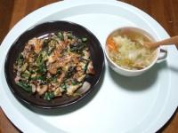 10/16 昼食 ニラとねぎのチヂミ、野菜スープウィンナ入り