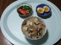 10/19 夕食 厚揚げとあさりと野菜の和風スープ、もずく酢、ゆで玉子