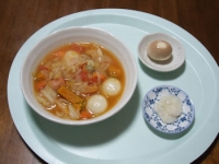 10/20 昼食 じゃがもち入り野菜スープ、味玉子、べったら漬け