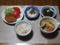 10/21 夕食 フライドチキン、鶏手羽と野菜のスープ、山芋の明太和え、アカモク、雑穀ごはん