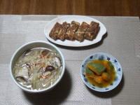 10/23 夕食 野菜スープ、納豆入り卵焼き、かぼちゃの煮物