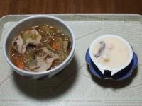 10/24 豚肉と野菜のピリ辛スープ、茶碗蒸し